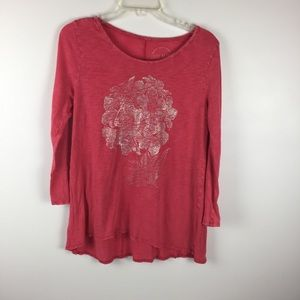 Lucky Brand Pink Floral Graphic Top Sz Large